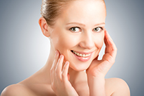skin care. face beautiful young healthy woman